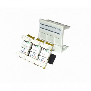Gigaband Cat6 Single Gang Fully Loaded Triple Outlet (excludes Faceplate)