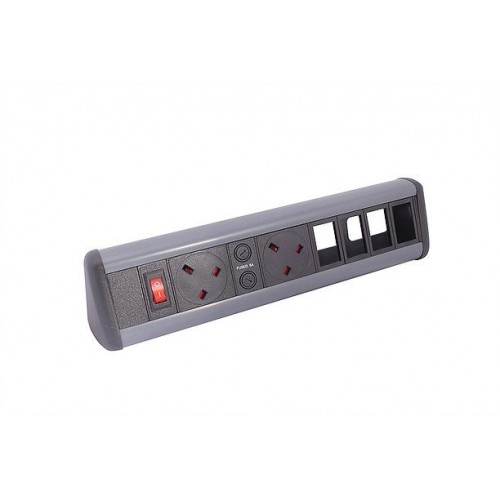 P-Pack Desktop With 2 UK Sockets, 2 x 6C Cut-Outs and Master Switch