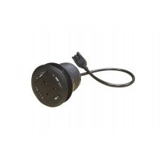 Black 80 mm UK Power Grommet with 3 x 2.1 USB and 1.2 mtr Data Transfer Lead