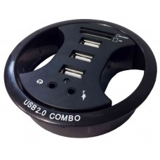 Black 80 mm Grommet with 3 x USB Hub 1 x SD/MMC , 1 x MS and 3.5 mm Jack